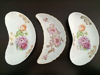 Three Vintage Crescent Shaped Bone Dishes Mitterteich Bavaria and others