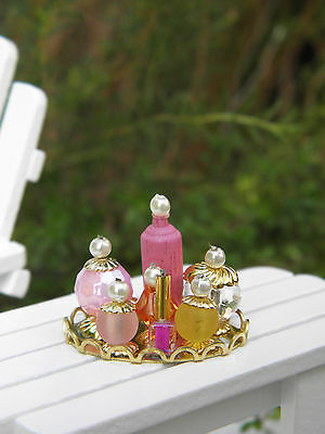 Miniature Dollhouse FAIRY GARDEN Accessories ~ Vanity Tray with Pink Bottles NEW