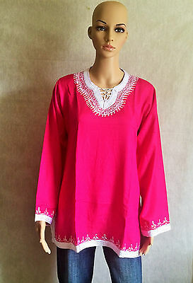 Moroccan Ladies Cotton Tunic Top Shirt Handmade Embroidered Long Sleeves Pink