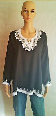 Moroccan Ladies Cotton Tunic Top Shirt Handmade Embroidered Long Sleeves Black