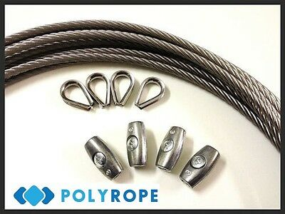 Galvanized Steel PVC Plastic Coated Wire Rope +Thimble +Clamp Washing Line Gym