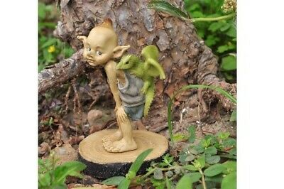 "3.25"" My Fairy Gardens Mini Figure - Pixie with Baby Dragon - Miniature Figurine"