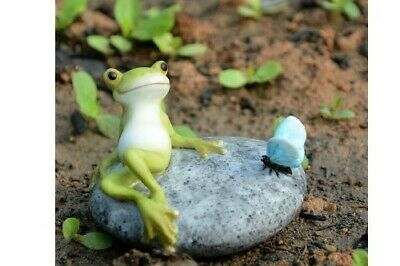 Fairy Garden Mini - Frog Resting On Stone With Butterfly
