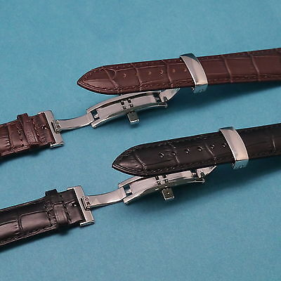 Genuine Leather Watch Band with Push Button Deployment Clasp for All 19mm 21mm