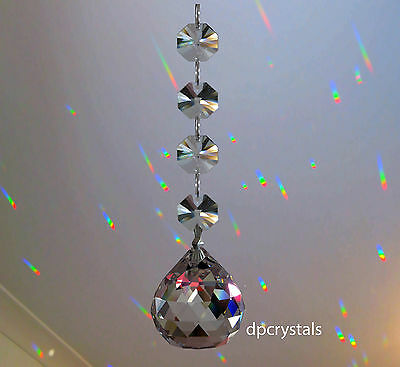 Hanging Crystal Sun catcher Feng Shui Rainbow Prism Ball with Swarovski Octagons