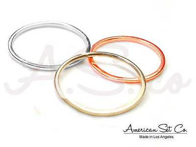Solid 14K Gold Shiny Plain Tiny Stacking Knuckle Wire Ring Band