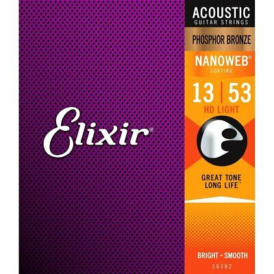 Elixir 16182 Phosphor Bronze NANOWEB HD Light Acoustic Guitar Strings 13-53