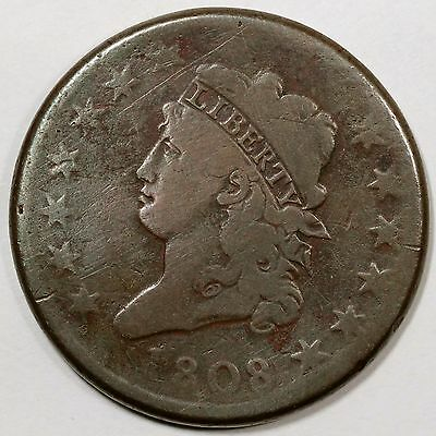 1808 S-278 R-3 MDS Classic Head Large Cent Coin 1c