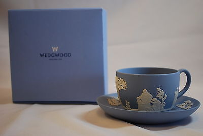 Wedgwood Made in England Light Blue Jasperware Cup & Saucer #1