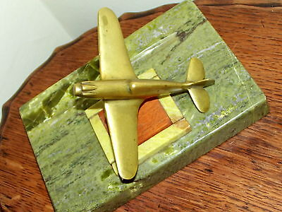 Trenchart Brass Spitfire Areoplane on Onyx Base for pen