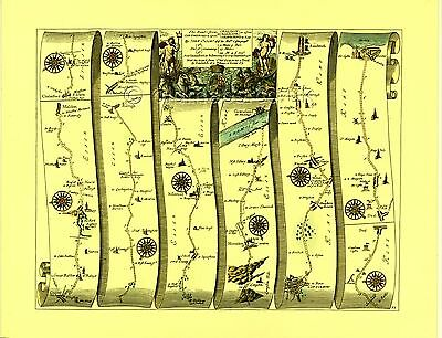 Chelmsford to Gravesend & Canterbury to Dover Replica 17c OGILBY Old Road Map