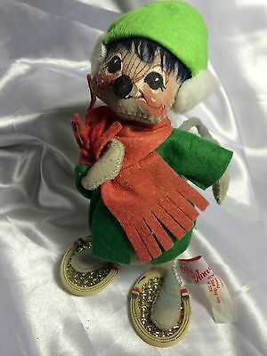 1990 Annalee Christmas Mouse With Tennis Racket Snowshoes