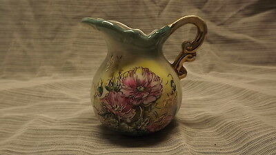 """HANDPAINTED LEFTON OF JAPAN 3"""" TALL FLOWERED PITCHER CROWN STAMPED"""