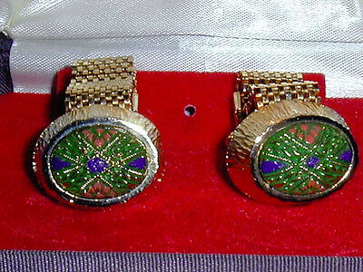 Mesh Cufflinks, Gold Tone With Colorful Enamel Design Carved Green Stone, Vtg.
