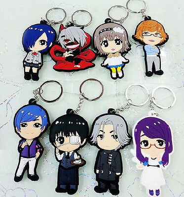tokyo ghouls family silica gel key chain key chains new 8pcs new