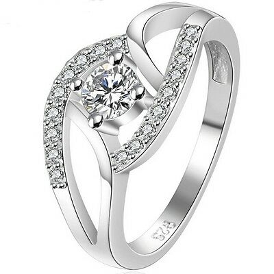 Size 4-11 White Gold Silver Ring Wedding Engagement Heart Infinity Girl Child