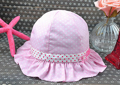 Girls Children Kids Baby  Pink Cotton Polka Dots Bow Ribbon Sun Summer Hat Cap