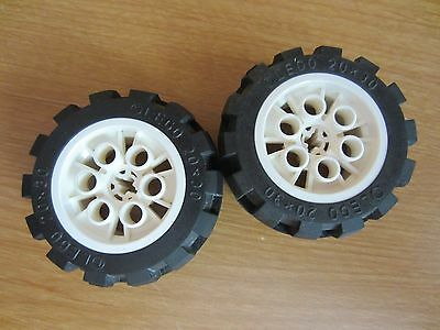 2 Sets LEGO 20 x 30 Tires and White Wheels/Rims Technic Wheels Car Truck  6582