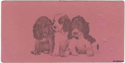 An Original Dog Lovers Vintage Illustrated Ink Blotter with 3 Cute Cocker Spanie