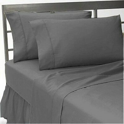 Premium Hotel Quality 1000 TC   Fitted Sheet Queen Grey