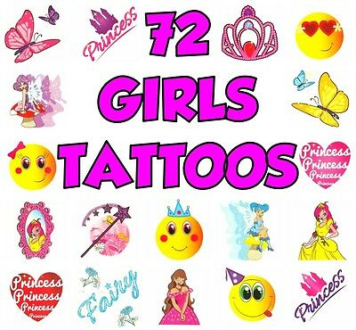 72 Girls Temporary Tattoos Childrens Activity Toy Kid Birthday Party Bag Fillers