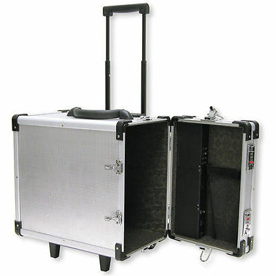 """Aluminum Rolling Travel Jewelry Sales Case  15 1/2""""  With 12 Trays"""