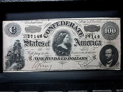 1864 $100 Confederate Note ✪ Xf Extra Fine ✪ States America T-65 S7 ◢Trusted◣