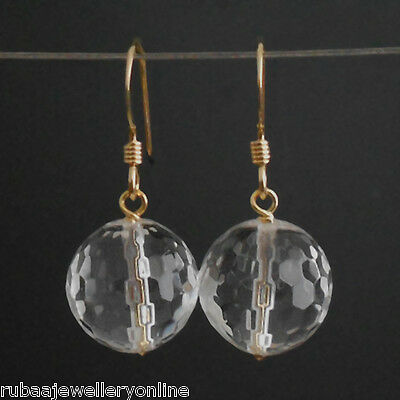 10mm FACETED GENUINE ROCK-CRYSTAL BEAD / BALL 14k GOLD FILLED DROP EARRINGS