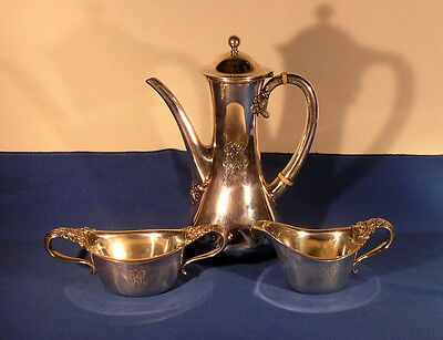 Antique Tiffany & Co. Sterling 3-pc Demitasse Set Clover Pattern circa 1902-7