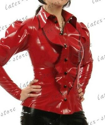 691 Latex Rubber Gummi ruffle Shirt Top point collar catsuit customized .4mm New