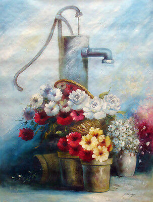 Large Oil Painting of Still Life Flowers in Vase Basket by Water Hand Pump 36x48