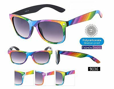 1 CASE of 12  Fashion Way farer Sunglasses 9036 and 12 free bags Rainbow