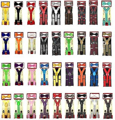 New Children Kids Boys Girls Suspender & Bowtie Matching Colors Set NEW