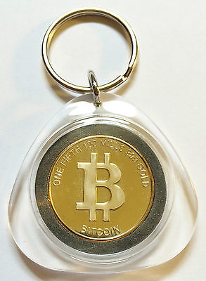 "Awesome Key Ring One Fifth ""Bitcoin"" Finished in 999 24 K Gold"