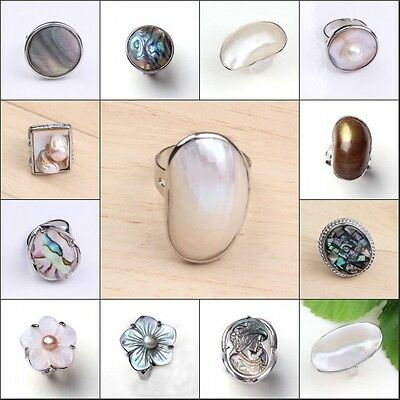 1x Natural Abalone Shell Different Style Shell Adjustable Finger Ring Jewelry