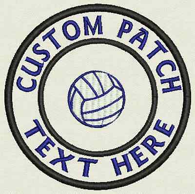 Volleyball Custom Embroidered Tag, Patch, Badge Iron On or Sew On - 3.50""