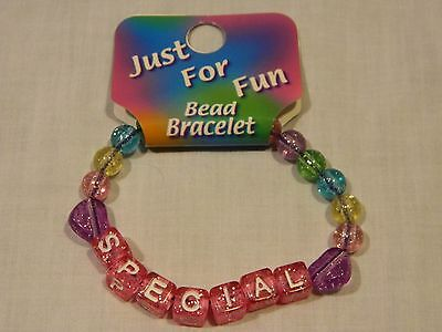 "NEW GIRLS/CHILD JUST FOR FUN ""SPECIAL"" BEADED BRACELET PARTY BAG GIFT"