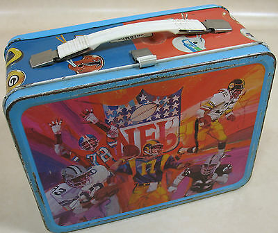 Vintage Metal Lunch Box and Thermos NFL Various Players Red Blue POOR
