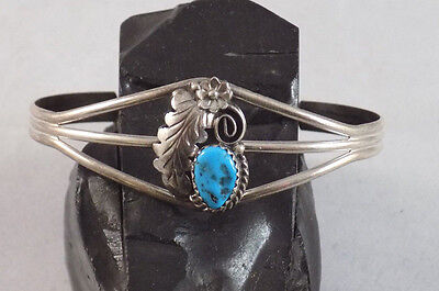 Sleeping Beauty Turquoise Sterling Silver bracelet with Delicate Leaf Design