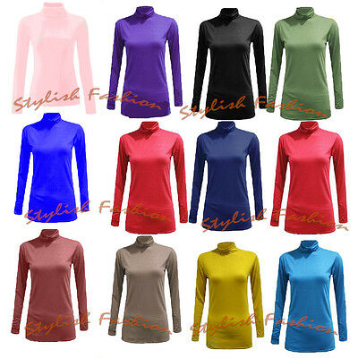 Womens Long Sleeve Turtle Neck Top Jersey Roll Neck Jumper Polo Neck Sweater