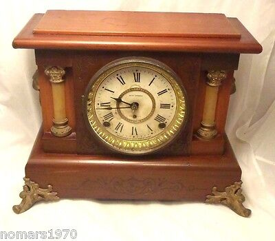 Beautiful Vintage Antique Seth Thomas Peru Mantle Clock Working W/ Key