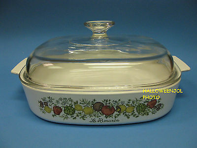 CORNING WARE SPICE OF LIFE 2 1/2 Qt Casserole Baking Dish Pyrex lid A-12 C