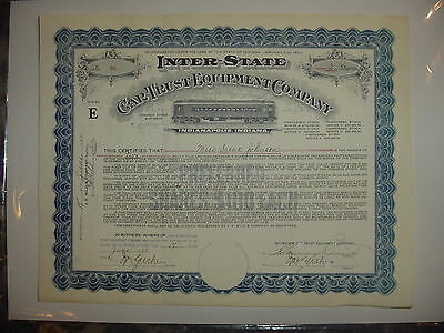 Inter-State Car Trust Equipment Company Stock Certificate Indianapolis Indiana