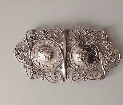 Fine Antique Victorian solid silver Angel Faces buckle, 1898, 1.63ozt