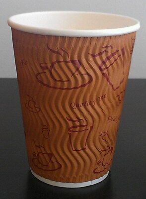 400 sets 8 oz Brown Triple Ripple wall disposable paper coffee cups and lids