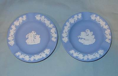 Pair of Light Blue Wedgwood Jasperware Round Ash Trays - Made in England