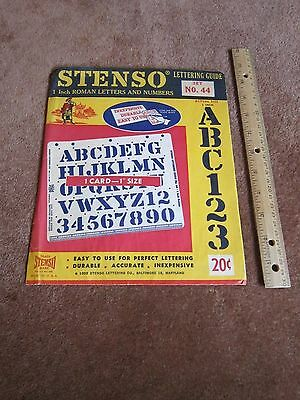 Stenso Stencil 1958 Vintage 1950's Lettering Guide Alphabet Numbers Roman UNUSED