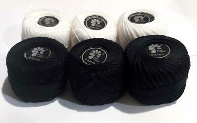 Anchor Crochet Cotton Embroidery Thread Balls *Size no.8 - 10 White Solid Balls