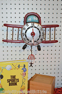 WHIMSICAL ART AIRPLANE  WALL CLOCK, MICHELLE  ALLEN DESIGNS, SHIPS IN 24 HOURS !