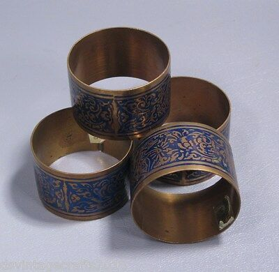 Napkin Rings Blue Enamel Floral Scroll on Brass Set of 4 Made Thailand